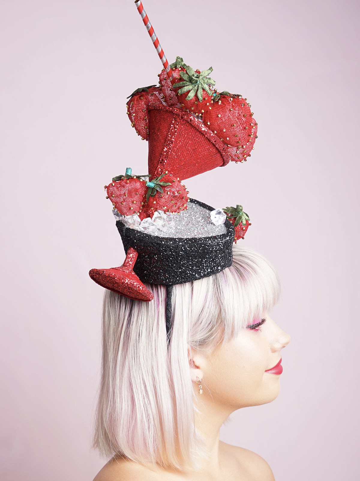 Strawberry Cocktail Tipsy Fascinator