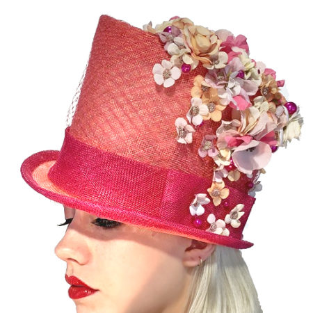 Pink Flowered Top Hat