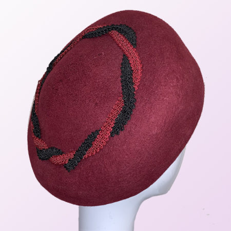 Burgundy Felt Wide Pillbox